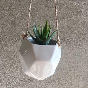 White Ceramic Geometric Plant Pot